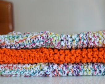 Set of 3 Colorful Dish Cloths, Hand Knit Cotton Wash Cloths, Orange Speckled Spa Cloths, Cleaning Cloth