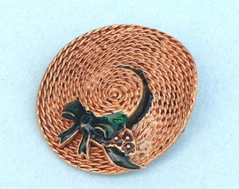 Vintage Signed MFA Museum of Fine Arts Straw Hat Pin Brooch