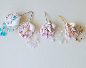 One seashell bobby pin. Beach wedding hair accessories. Nautical wedding headpiece