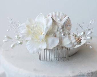 Floral Wedding Hair Comb. Starfish Pearl Crystal Flower Headpiece. Beach Wedding Ivory Head piece