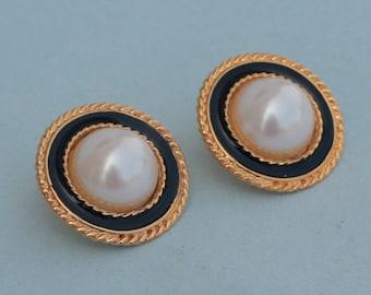 Vintage Signed Ann Taylor Gold Black & Ivory Pierced Faux Pearl Enamel Earrings