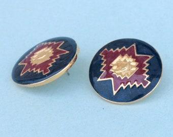 Vintage Unsignet  Enamel Earrings.