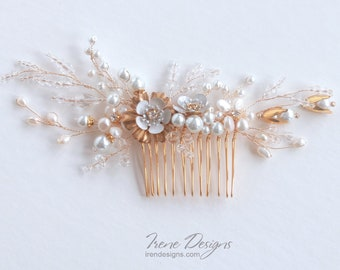Hand-made Golden Hair Comb. Bridal Floral Headpiece. Gold Crystals And  Pearls  Hair Jewelry. Gold & White Hair Comb