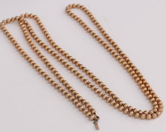 """Vintage Signed Monet Gold Tone Beaded Chain Flapper Necklace 54"""" Long"""