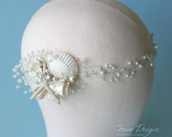 White pearl and crystals beach wedding head circlet. Bridal seashell wreath. Mermaid Head Wreath .Beach Wedding Head Circlet