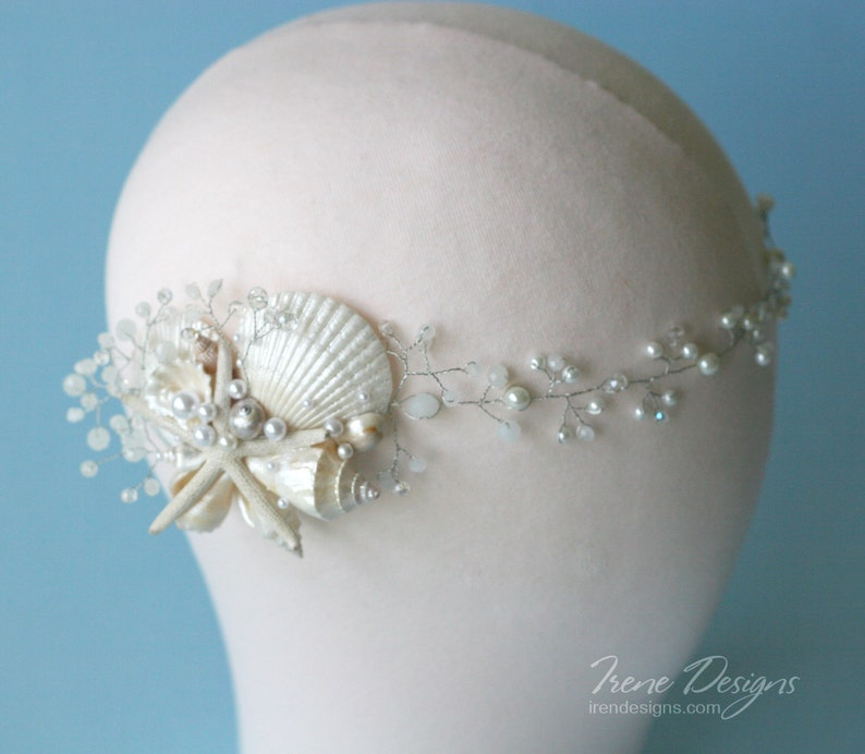 White pearl and crystals beach wedding head circlet. Bridal image 0