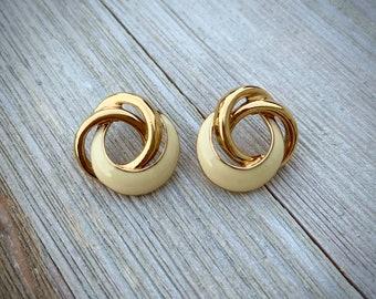 Vintage Signed Trifari Circle Earrings. Gold Tone and Ivory enamel Earrings.