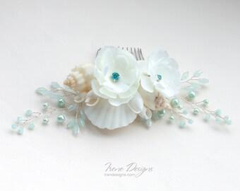 Ivory and sky blue beach wedding floral headpiece. Mermaid Ivory and sky blue seashells hair comb. Wedding floral Headpiece