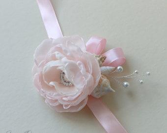 Petal pink seashells corsage. Сorsage for beach wedding.