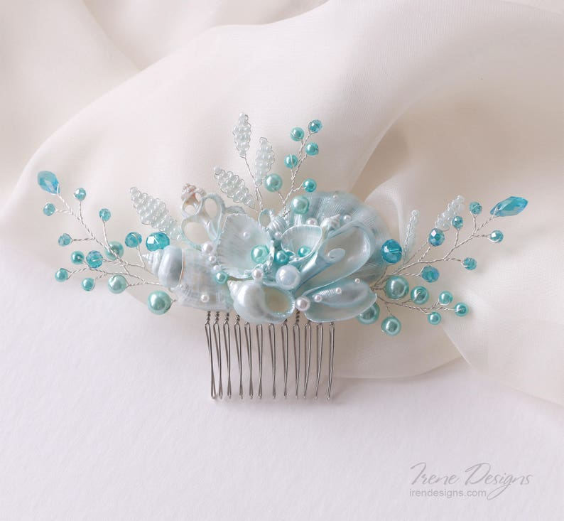 Sky Blue Beach Wedding Hair Comb. Seashell and Pearls Crystals image 0