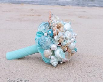 Handmade Seashells Bouquet. Blue Seashells Bouquet. Beach Wedding Seashells Bouquet. Beach wedding accessories