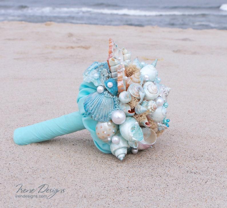 Seashells Bouquet. Blue Seashells Bouquet. Beach Wedding image 0