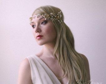 Golden color beaded hair circlet. Jeweled hair wreath. Crystal and beads hair tiara