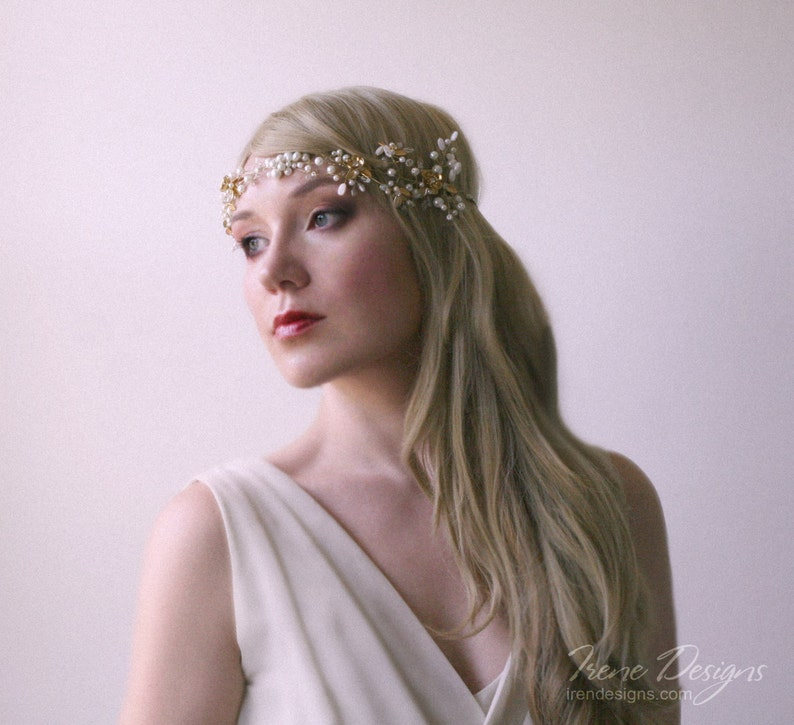 Golden color beaded hair circlet. Jeweled hair wreath. Crystal image 0