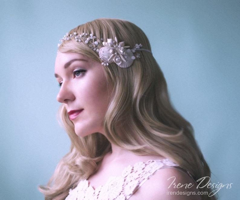White pearl and crystals beach wedding head wreath. Bridal image 0