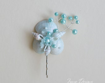 Aqua color seashell bobby pin. Beach wedding hair accessories. Nautical wedding headpiece. Shells and crystals bobby pin