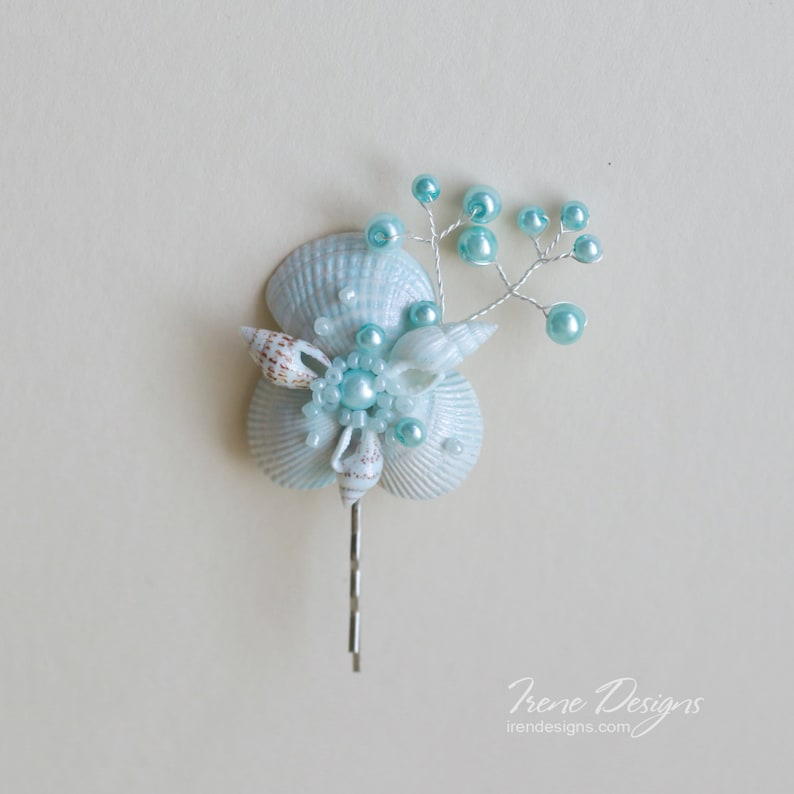 Aqua color seashell bobby pin. Beach wedding hair accessories. image 0