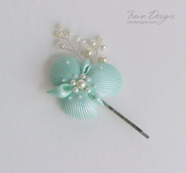 Wedding Seashell Hair Pin. Wedding Mint-Green and Ivory image 0