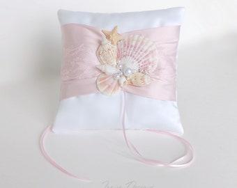 Petal Beach Ring Bearer Pillow. Pale Pink And White Ring Pillow for Beach Wedding. Shells Ring Pillow.