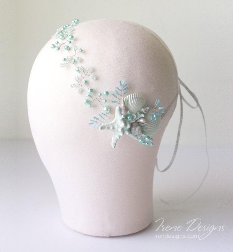 Beach wedding head circlet. Bridal seashell wreath. Mermaid image 0