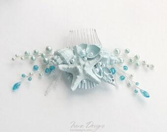 Sky Blue Beach Wedding Hair Comb. Seashell and Pearls Crystals Hair Comb. Beach Wedding Headpiece. Beaded Hair Comb.