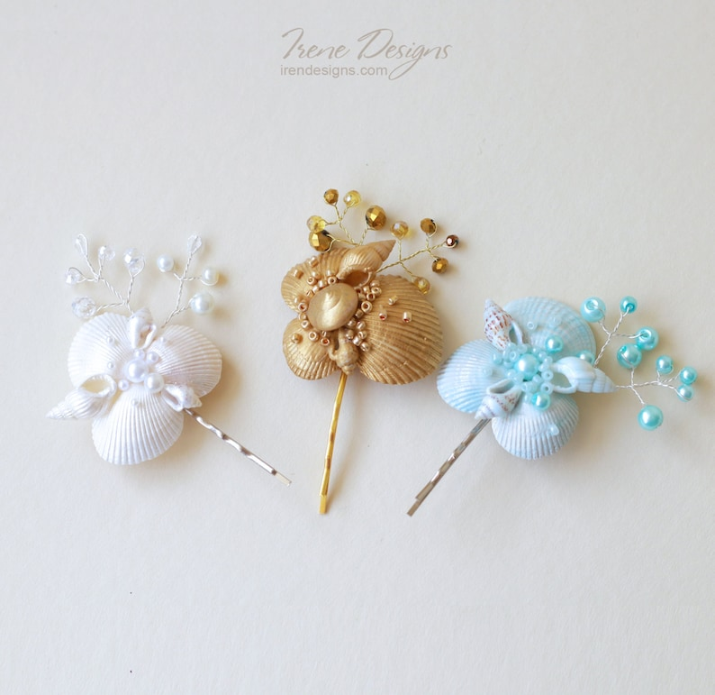 One seashell bobby pin. Beach wedding hair accessories. image 0