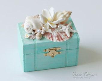 Light Turquoise Wedding Ring Pillow Box. Ring Bearer Box For Beach Wedding. Alternative Ring Bearer Box Pillow. Beach Wedding Ring Box