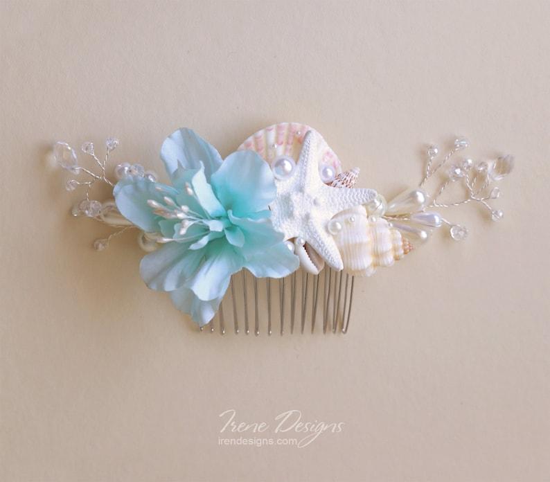 Wedding Seashell Hair Comb Aqua Seashell Headpiece Crystal image 0
