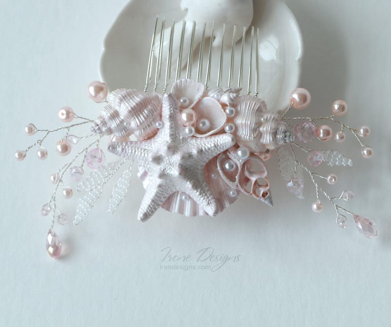 Pale Pink Beach Wedding Hair Comb. Seashell and Pearls image 0