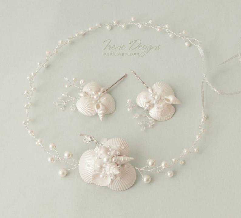 Set of pearl white beach wedding head circlet and pins. Beach image 0
