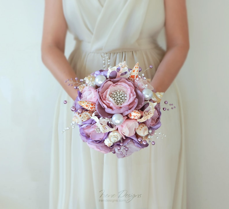 Seashell Bouquet. Light purple lilac and silver seashell image 0