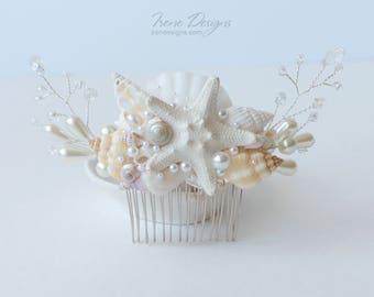 Seashells Wedding Hair Comb. Starfish Pearl Crystal Headpiece. Beach Wedding Head Piece