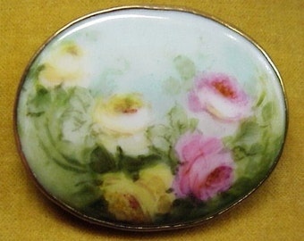 GORGEOUS ANTIQUE BROOCH - Hand Painted Porcelain Brooch, Romantic Roses,Pink Yellow Roses Pin,Large Oval Brooch,Collectible Porcelain Brooch