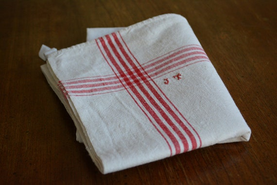 Monogrammed Antique French Linen Tea Towel Initials Jt Etsy