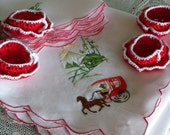 Vintage Hand Embroidered Linen Luncheon or Bridge Cloth Matching Napkins Handmade Crochet Nut Cups