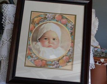 Vintage Baby Print by Annie Benson Muller Original 1929 ~ Framed Nursery Decor