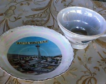 RARE 1962 Seattle WORLD'S FAIR Opalescent Finish Tea / Coffee Cup & Saucer