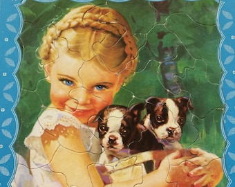 Puzzle - Little Girl with Two Puppies