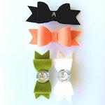 Felt hair bow / Mango (peachy orange) wool felt bow / girls hair accessory / custom monogram hair clip