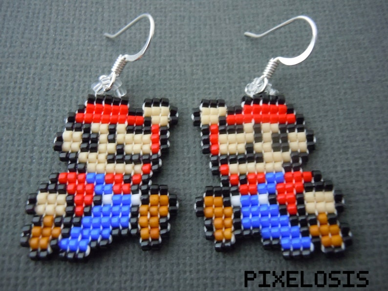 Glass Bead Mario Earrings, Video Game Jewelry, Handmade, Pixelated,  Nintendo Jewelry, Super Mario, 8 Bit, Geek, Gamer, Miniature Pixel Art