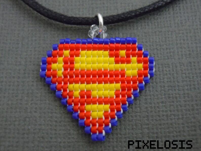 Glass Bead Pixelated Superman Symbol Necklace Comic Book Jewelry Super Hero Jewelry Nerdy Geeky 8 Bit Miniature Pixel Art