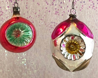 christmas indent ornaments set of two indent pink polish and japanese decorations triple indent oval and small ball ornaments