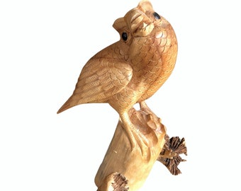 Vintage Hand Carved Owl Perched on Tree Statue, Parasite/Burl Wood, Rustic Decor from Bali Indonesia