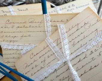 Vintage Handwritten Recipe Cards, Wedding Gifts, Scrapbooking, Collage, Mixed Media, Set of Ten (10)
