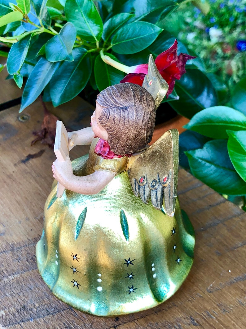 Christmas Collectible circa 1950s Made in Italy Vintage Anri Angel Hand Carved Iridescent GoldGreen Caroler Figurine