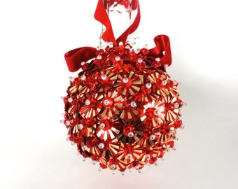 Vintage Christmas Ornament, Handmade Beaded Ornament, 1960's Retro Ornament, Red and Gold Sequin, Pearl and Red Beaded Round Ornament
