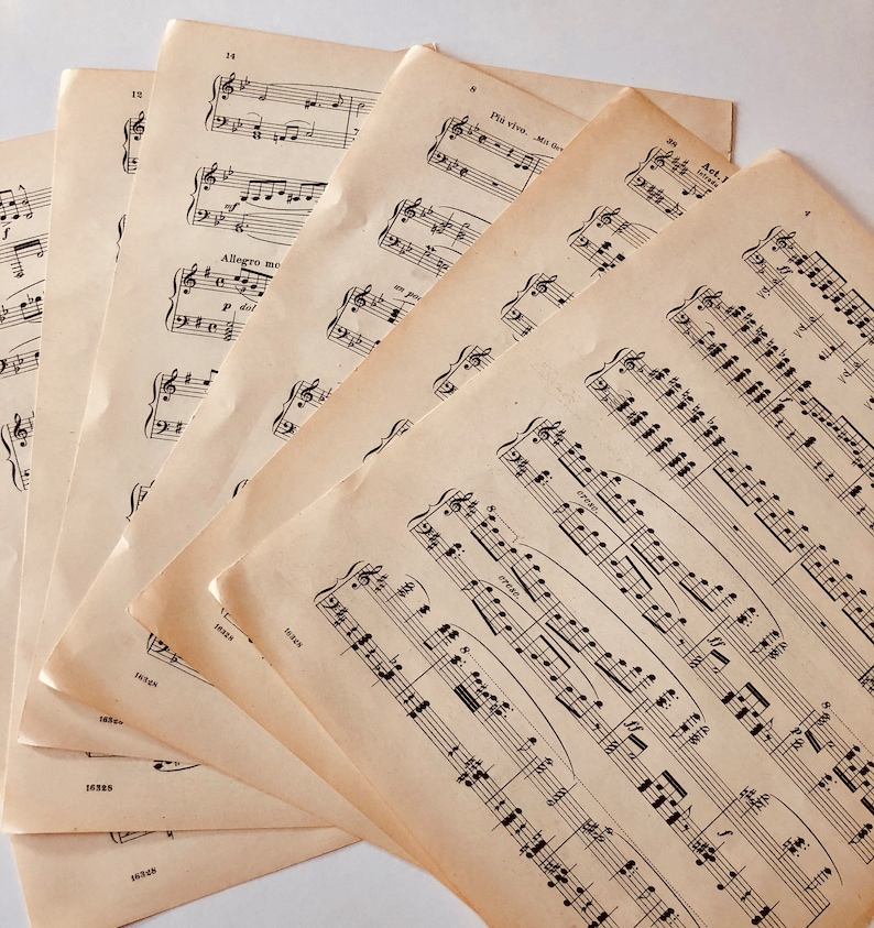 Vintage Sheet Music LOT for Crafts -Twenty Sheets, Confetti, Scrapbooking,  Collage, Altered Art, Ephemera early 1900s