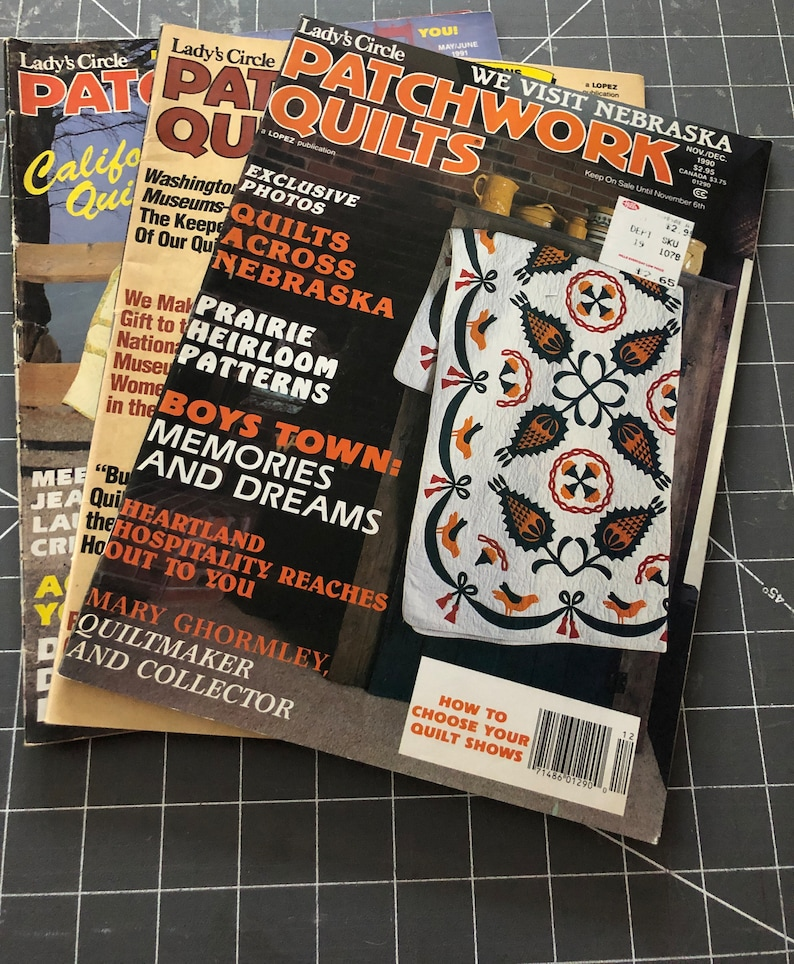 Vintage Quilting Magazines, Set of 3 Lady Circle Patchwork Quilts Magazine,  1980s Back Issues, Quilter Patterns, Collectible for the Quilter