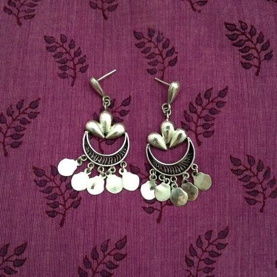 Vintage sterling chandelier earrings, boho sterlin