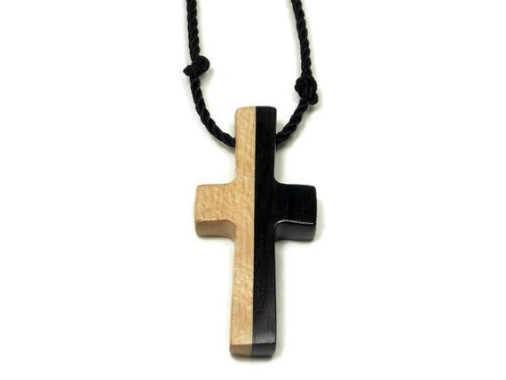 Wooden Cross Necklace Pendant Made W Ebony Maple Woods Strung On A Hand Knotted Black Nylon Cord Adjustable Length Mens Cross Necklace